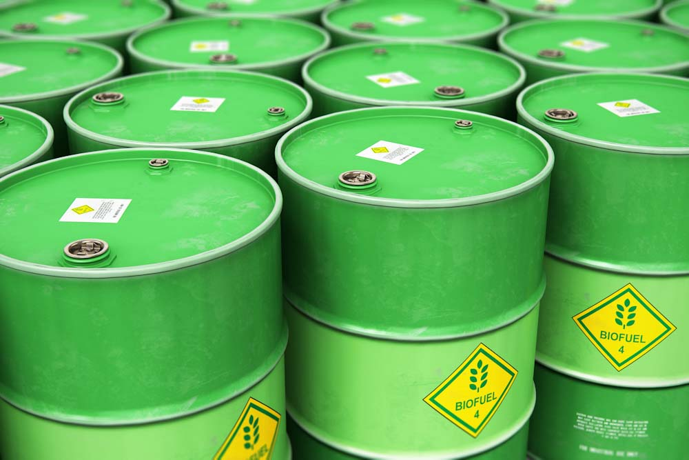 Photo of some barrels of biofuel
