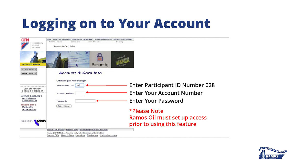 A slide with an image of the login screen found on the CFN online account management website, with an explanation of how-to login.