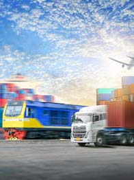 Photo of a truck, train, airplane, and cargo ship